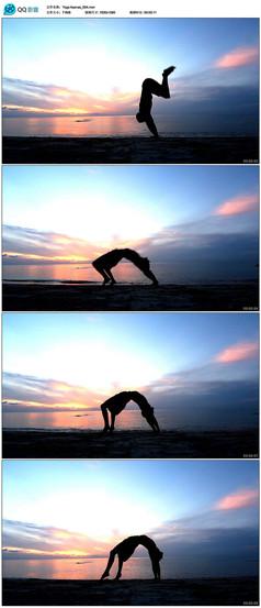 男情瑜伽人物剪影视频素材