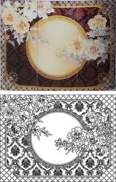 牡丹芙蓉雕刻图案