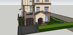 欧式独栋带车库庭院景观别墅模型