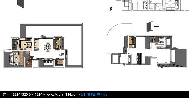 [原创] 别墅两层草图skp设计室内欧式风格设计