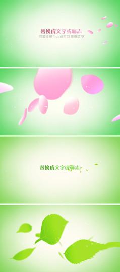 2款创意优雅花瓣叶子吹散效果logo标志片头模板