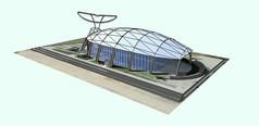 鱼型玻璃温室SU模型