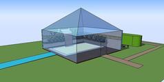 方形透明温室SU模型