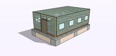方形玻璃房温室SU模型