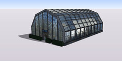 现代化全玻璃温室大棚SU模型