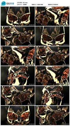 大气动感万圣节恐怖金属骷髅头视频素材