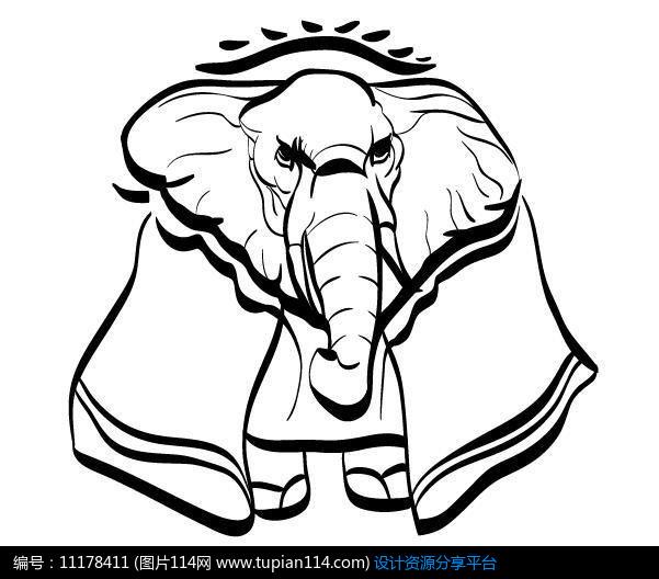简洁手绘线条大象设计素材免费下载_其他模板ai_图片图片
