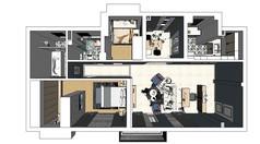 北欧风格室内家装草图su设计效果图