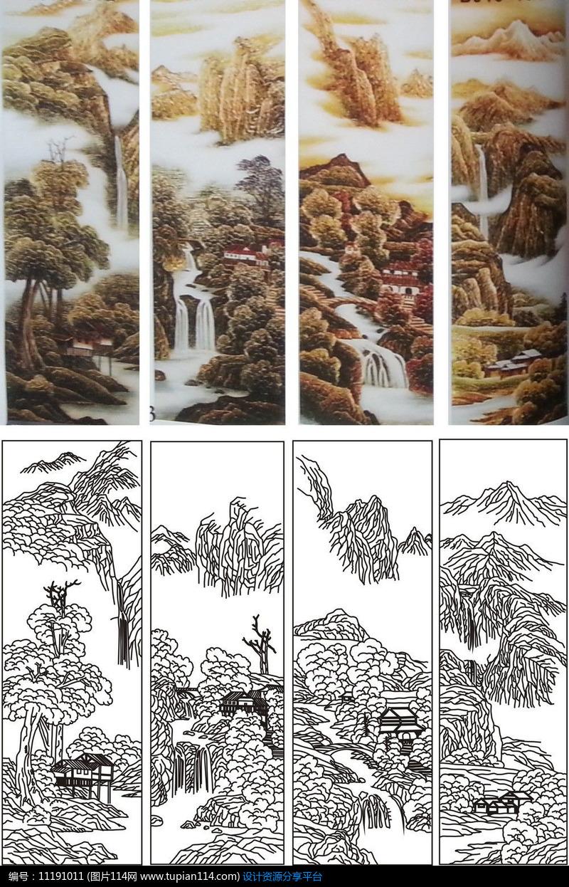 相关素材 春夏秋冬山水画风景树房子房屋艺术玻璃雕刻图彩雕矢量图