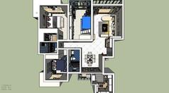 室内家装现代风格skp设计草图效果图