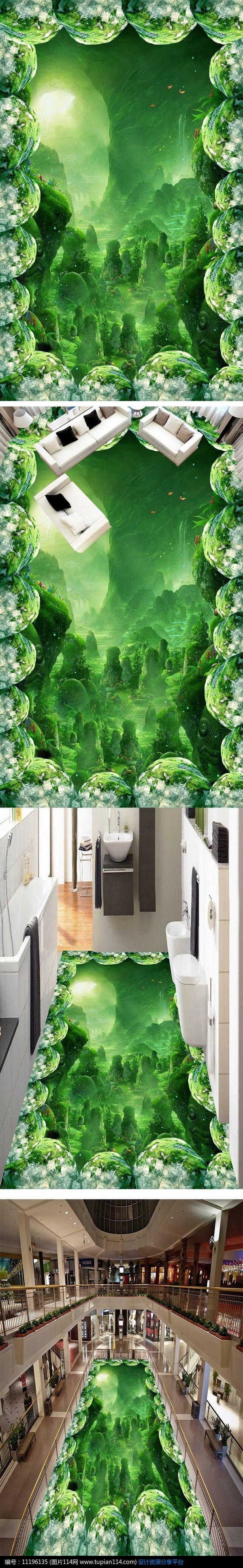 奇幻梦幻森林浴室厨房3d地板地贴,其他,建筑空间psd