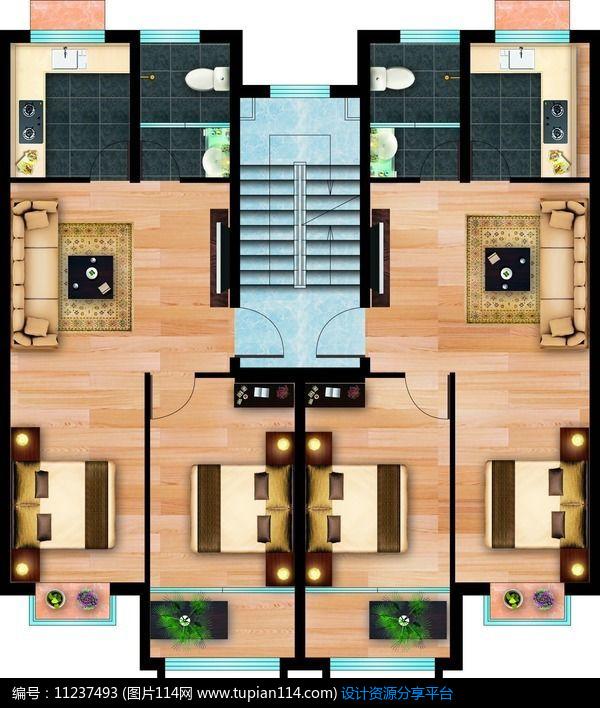 [原创] 小户型公寓彩色平面图