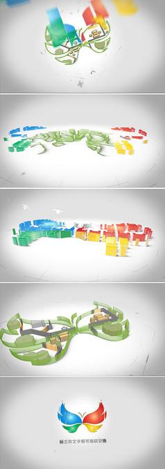 3d立體建筑藍圖構建logo標志動畫模板