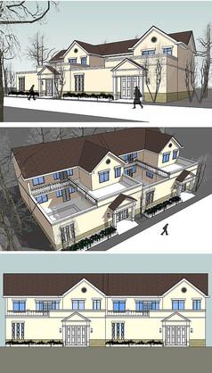 新农村规划的新古典单体建SU模型