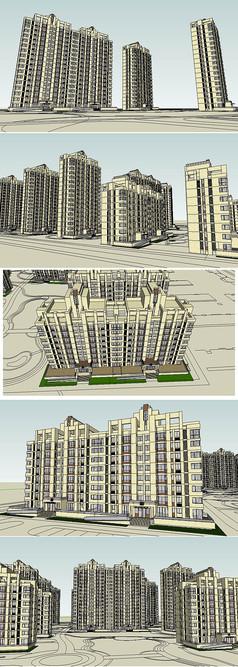 住区规划现代新古典建筑草图大师SU模型