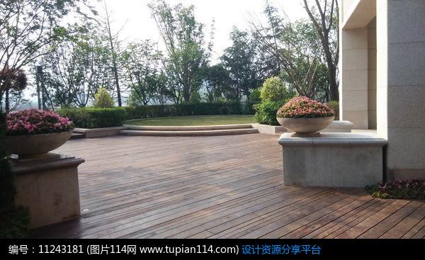 3d素材 方案意向 铺装 小区木平台景观意向     素材编号:11243181