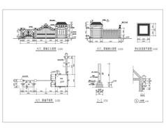 欧式大门围墙做法详图CAD