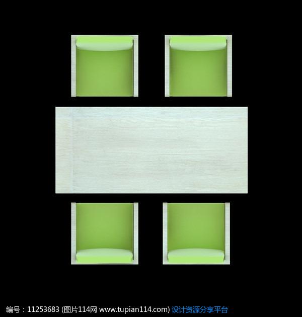 3d素材 方案意向 手绘素材 极简清新绿色餐桌psd     素材编号