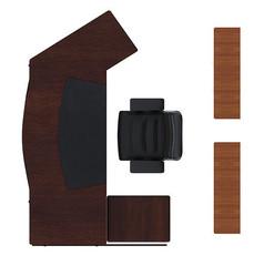 现代宽敞木质书桌书柜psd