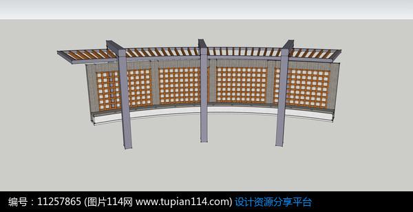 钢结构休闲廊架模型