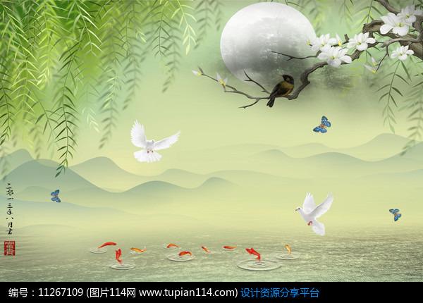 [原创] 梦里水乡梅花柳絮远山图3d唯美浪漫风景电视背景墙