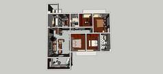四室一厅家装模型