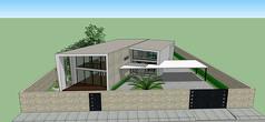 简约仿集装箱式别墅模型