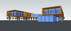 仿集装箱现代别墅模型
