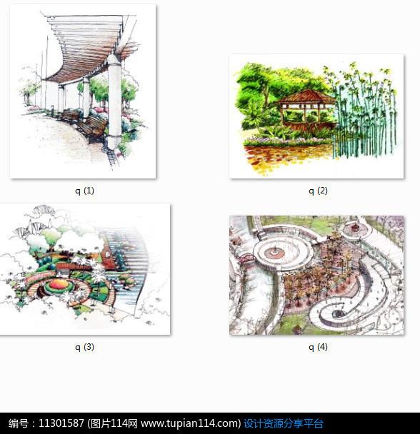 相关素材 廊架亭子效果图手绘透视图小品设计景观设计水景设计植物