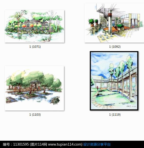 相关素材 亭子长廊效果图手绘透视图小品设计景观设计水景设计植物