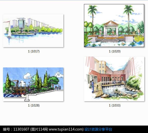 相关素材 亭子石头效果图手绘透视图小品设计景观设计水景设计植物