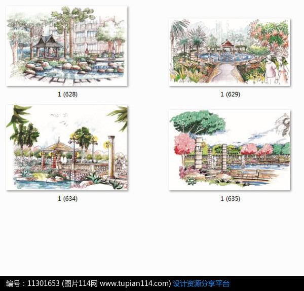 相关素材 汀步亭子效果图手绘透视图小品设计景观设计水景设计植物