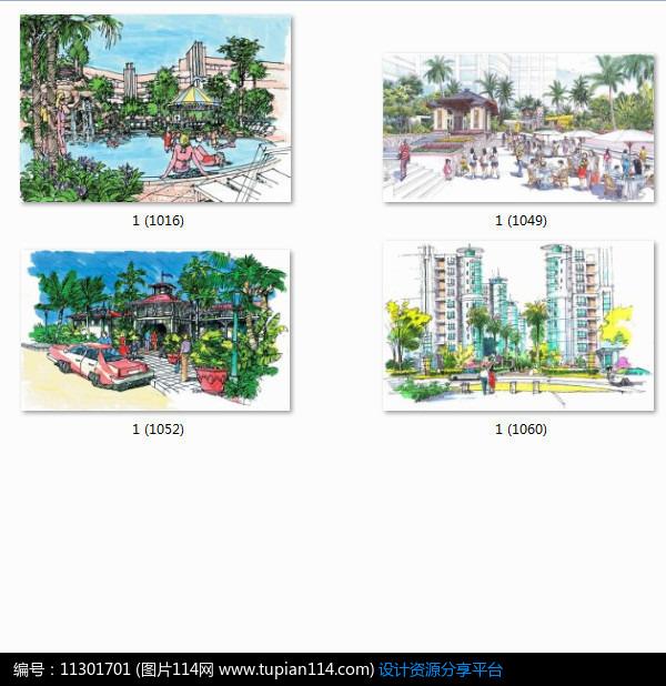 相关素材 亭子广场手绘效果图手绘透视图小品设计景观设计水景设计