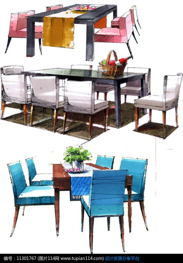 [原创] 室内餐厅桌椅手绘效果图