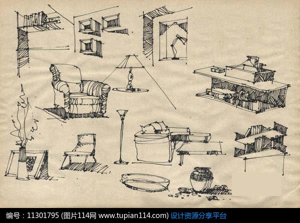 [原创] 室内客厅小品手绘效果图
