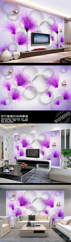 透明紫百合淡雅立体圆3D时尚背景墙