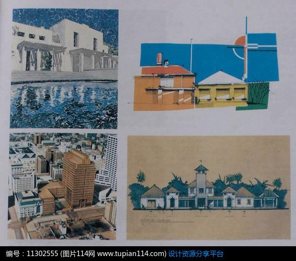 别墅建筑水景效果图手绘透视图小品设计景观设计植物设计铺装设计