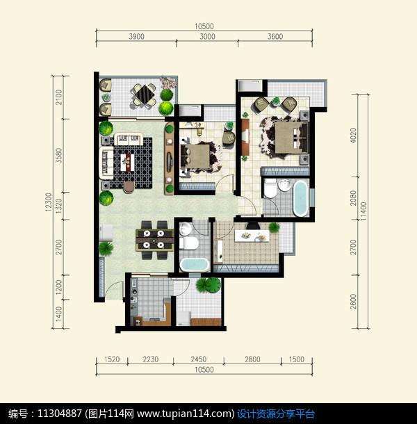 [原创] 三室两厅两卫户型平面图图片