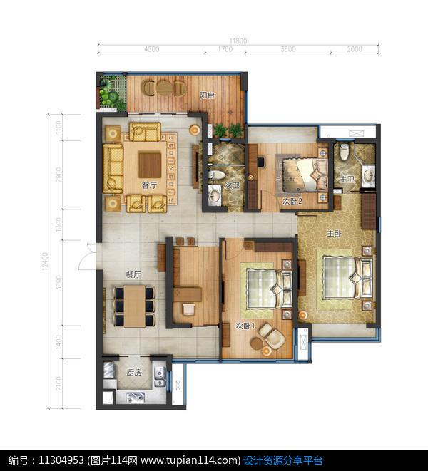 [原创] 三室两厅两卫高清户型图图片