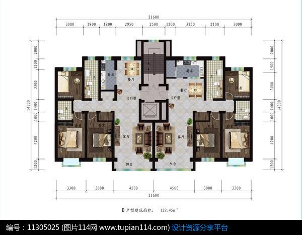 [原创] 三室两厅家庭型户型图