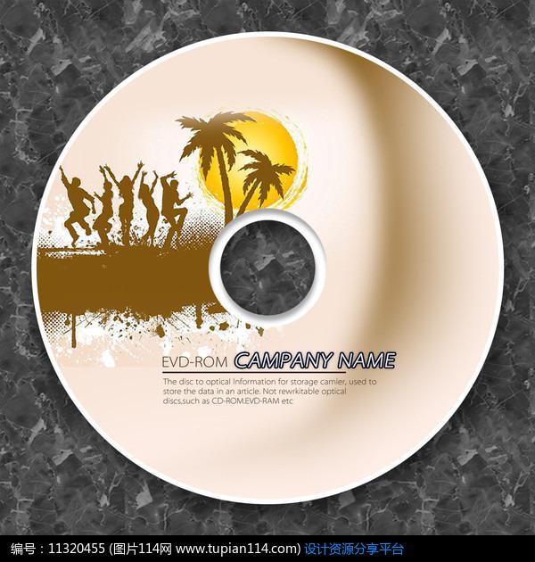海滩落日光盘cd模板设计素材免费下载_包装设计psd