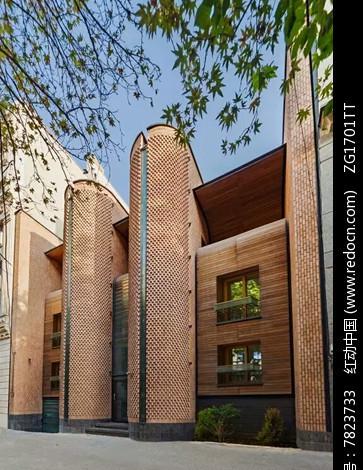 [原创] 现代别墅建筑红砖木质拼接