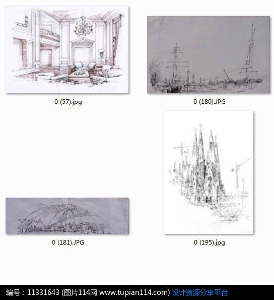 [原创] 欧式小镇建筑景观手绘效果图黑白线稿