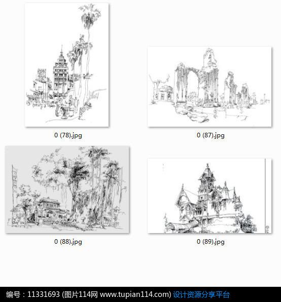 [原创] 欧式小镇建筑景观手绘透视图黑白线稿