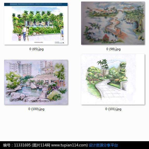 [原创] 城市住宅广场景观设计手绘效果图图
