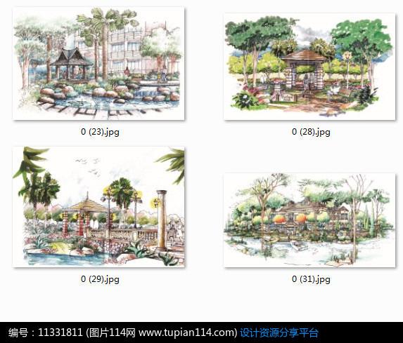 3d素材 方案意向 手绘素材 欧式景观亭手绘透视