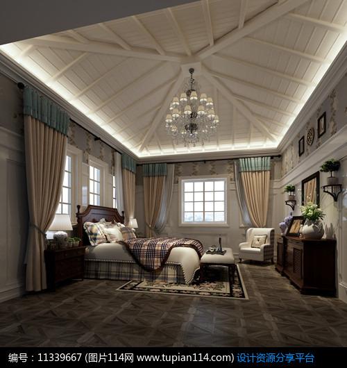 洋房坡顶欧式卧室效果图