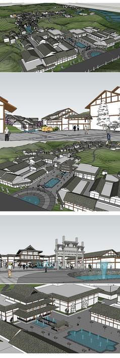温泉度假村规划草图大师模型