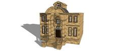 欧式建筑大门模型