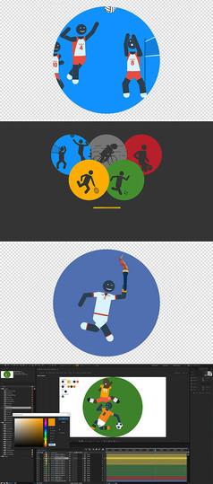 ae15款卡通体育人物各种运动图标动画包模板